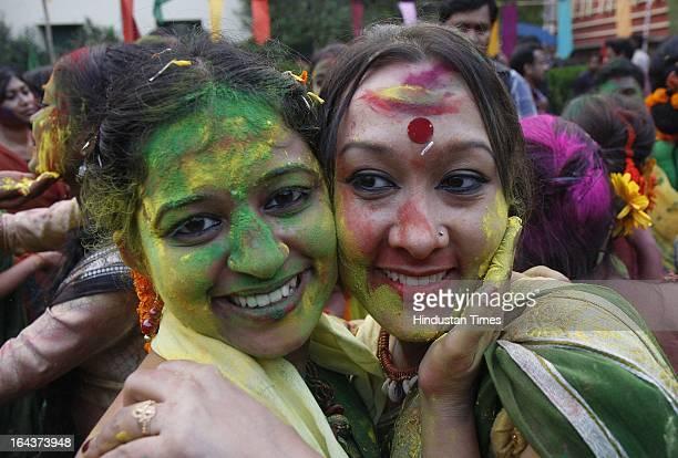 Rabindra Bharti University's students performing at 'Basanta Utsav' cultural Programme at Jorasanko Campus on March 22 2013 in Kolkata India Holi by...