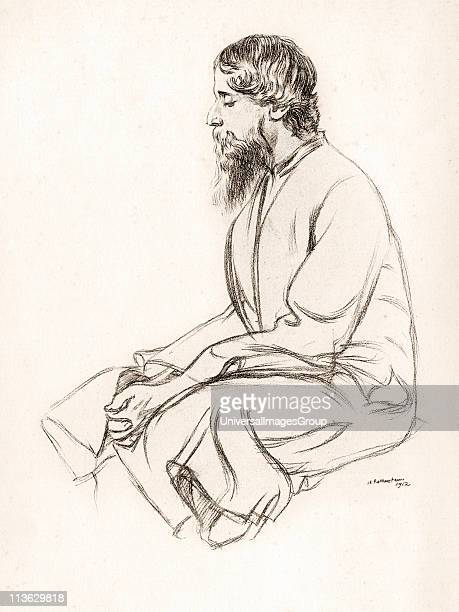 Rabindranath Tagore 1861 to 1941 Indian artist poet composer playwright and author from sketch by English artist Sir William Rothenstein 1872 to 1945...