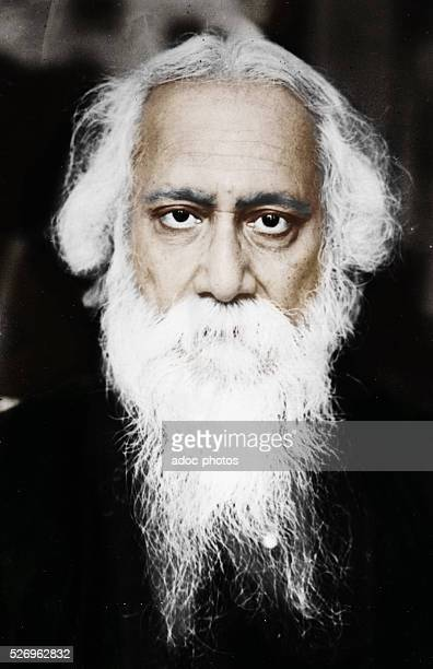 Rabindranath Tagore Indian writer and poet Ca 1920 Coloured photograph