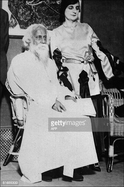 Rabindranath Tagore poet and philosopher born in Calcutta India posing with the Countess Anna de Noailles in an undated and unknown location Tagore...