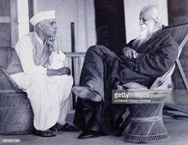 Rabindranath Tagore right with Pandit Jawaharlal Nehru later Prime Minister of India 1940