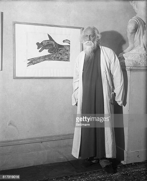 Rabindranath Tagore with painting he is exhibiting in New York City