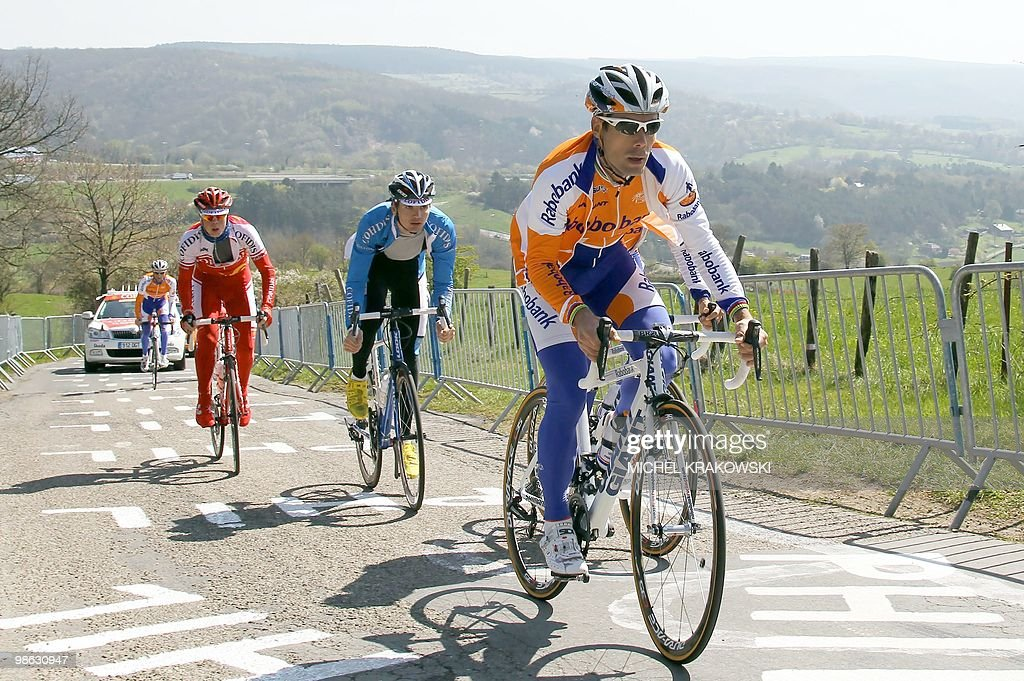 Rabobank's Oscar Freire (R) of Spain rides during a training session at la Cote de la Redoute in Remouchamps on April 23, 2010, ahead of the one-day cycle race Liege-Bastogne-Liege. The international cycle race Liege-Bastogne-Liege is due to take place on April 25, 2010 and follows a straightforward 95 km route from Liège to Bastogne.