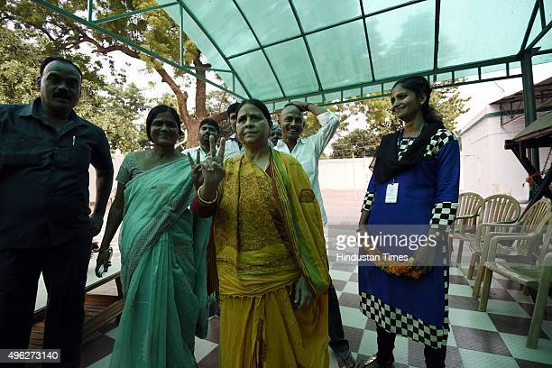 Rabri Devi wife of Rashtriya Janta Dal leader Lalu Prasad Yadav after landslide victory in Bihar Assembly elections on November 8 2015 in Patna India...