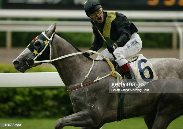 Race 1 No 6 Flying Kenny ridden by Simon Yim wins the 1200m race at Sha Tin Racecourse 18 May 2003