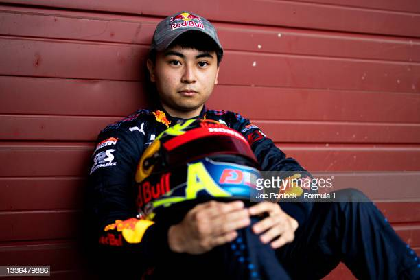 Race 1 winner at Round 4:Budapest, Ayumu Iwasa of Japan and Hitech Grand Prix poses for a photo during previews ahead of Round 5:Spa-Francorchamps of...