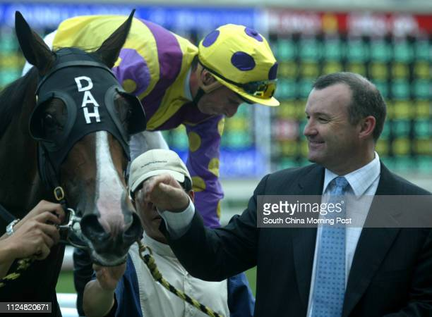Race 3 horse trainer David A Hayes and jockey Gerald Mosse after No 1 Super Dana winning the 1800m Williams Cup at Sha Tin Racecourse 01 May 2004
