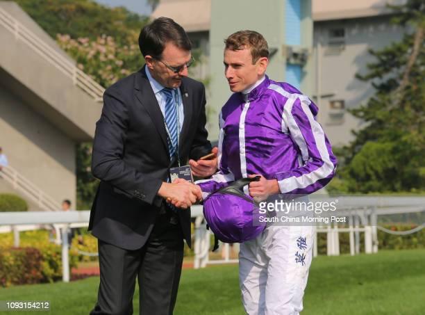 Race 4 trainer Aidan O'Brien with jockey Ryan Moore after they won the Hong Kong Vase at Sha Tin with the horse Highland Reel 10DEC17
