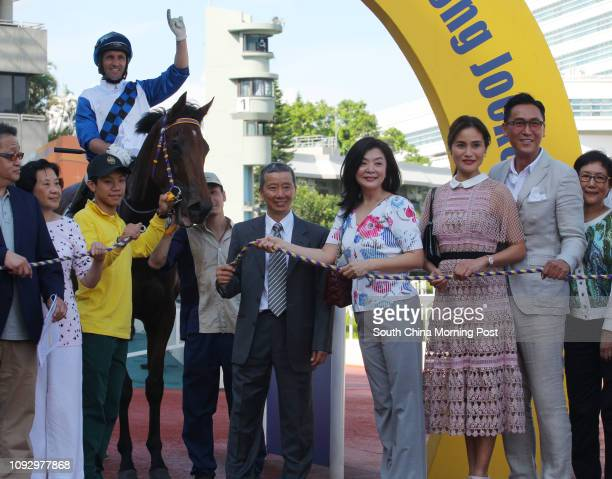 Race 7 Such A Happiness ridden by Neil Callan won the Hong Kong Riding for the Disabled Association Cup at Sha Tin Picture shows trainer Benno Yung...