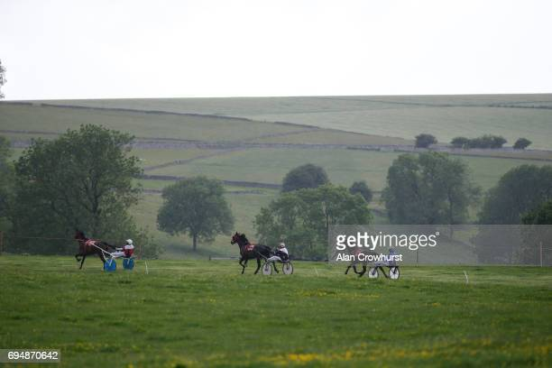 Race action at Pikehall harness racing course on June 11 2017 in Matlock England