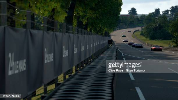 Race action during the grand final of the FIA Gran Turismo World Tour 2020 Finals run at the virtual Le Mans circuit, France on December 20, 2020 in...