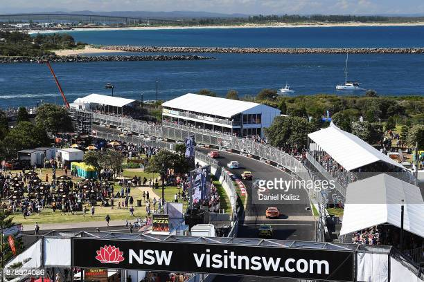 Race action is pictured from Fort Scratchley during race 25 for the Newcastle 500 which is part of the Supercars Championship at Newcastle Street...
