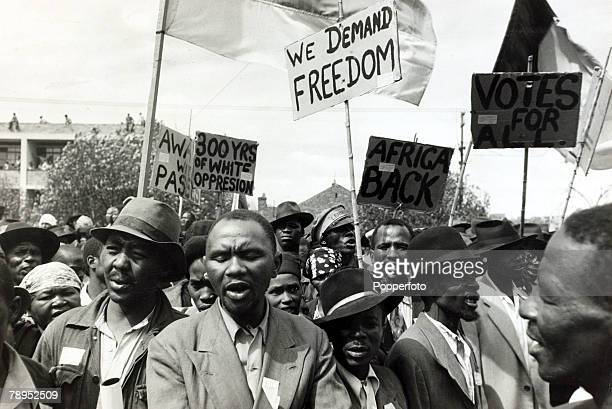 1952 Black African protesters seen among a crowd at a Johannesburg protest meeting which defied a ban on such gatherings
