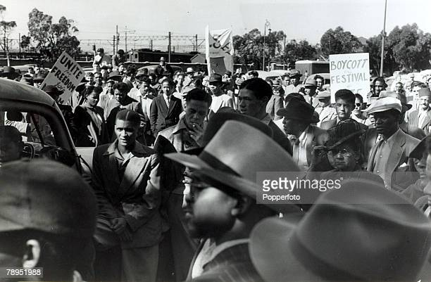 1952 Non white protesters part of a large crowd at a Capetown protest meeting which called for freedom and equality