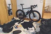 race bicycle cycling kit hotel room