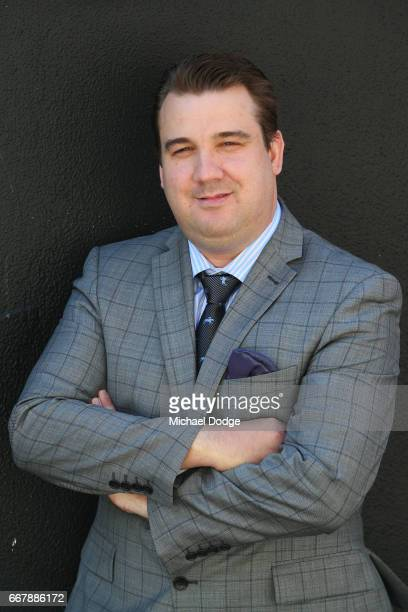 Race caller Matthew Hill who will replace legendary race caller Greg Miles who will call his final race meeting at Caulfield on Saturday poses at...