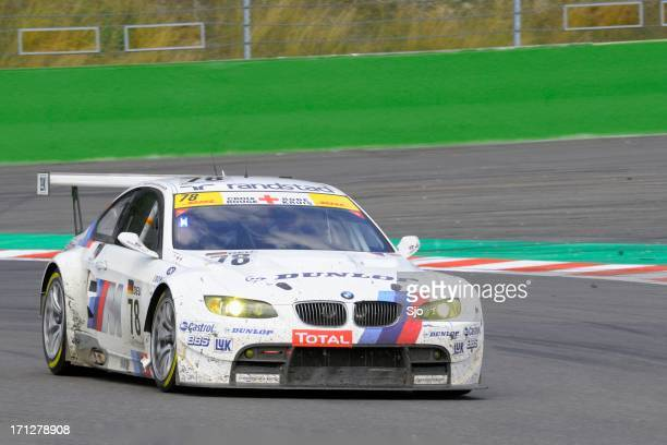 bmw m3 gt2 race car at the race track - endurance race stock pictures, royalty-free photos & images