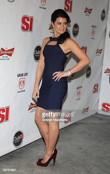 Race car driver and SI Swimsuit model Danica Patrick on February 12 2008 during a press conference at the Sports Illustrated office at 7 World Trade...