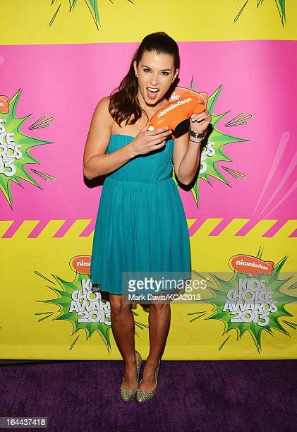 Race car driver Danica Patrick holds the Kids' Choice Award for Favorite Female Athlete backstage at Nickelodeon's 26th Annual Kids' Choice Awards at...