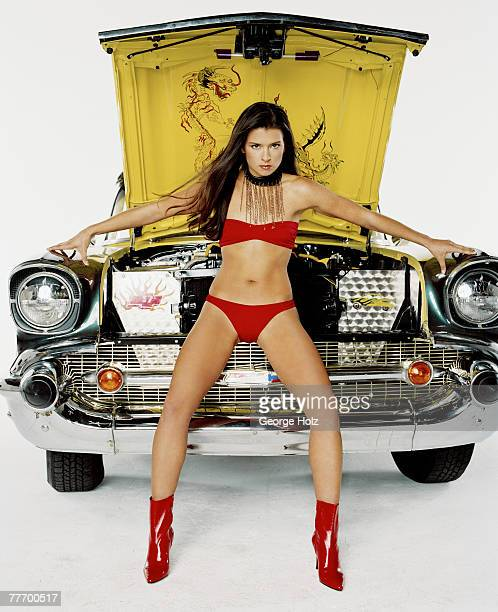 Race car driver Danica Patrick is photographed for FHM on October 9, 2002 at Fast Ashley's in Brooklyn, New York.