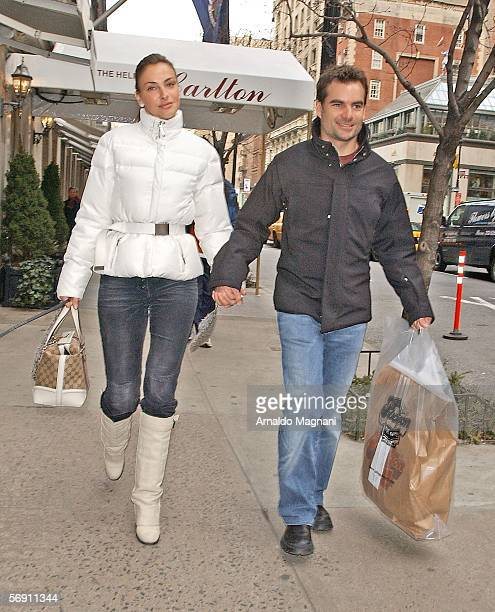 Race car driver Jeff Gordon and companion Ingrid Vanderbosch hold hands as they leave Nello's after lunch February 22 2006 in New York City