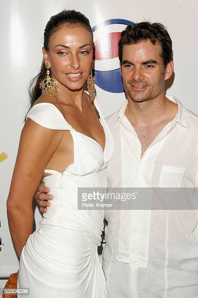 Race car driver Jeff Gordon and girlfriend Ingrid Vandebosch attend Diddy's Official VMA after party at Space August 28 2005 in Miami Florida