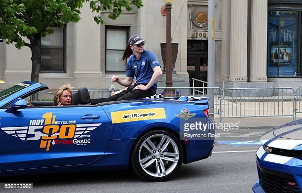 May 28: Race car driver Josef Newgarden makes his way South on Pennsylvania Street during the Indianapolis 500 Festival Parade in downtown...