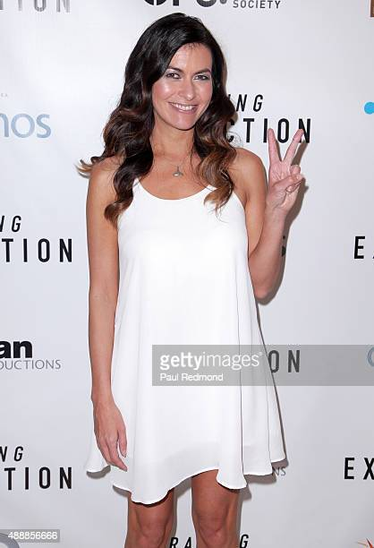 Race car driver/Environmental activist Leilani Munter attends the premiere of Discovery Channel's Racing Extinction at The London West Hollywood on...