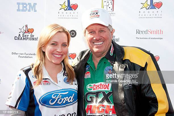 Race car drivers Brittany Force and John Force arrive at the Yahoo Sports Presents A Day Of Champions event at the Sports Museum of Los Angeles on...