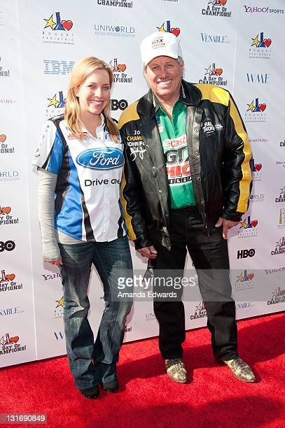 Race car drivers Brittany Force and John Force arrive at the Yahoo! Sports Presents A Day Of Champions event at the Sports Museum of Los Angeles on...