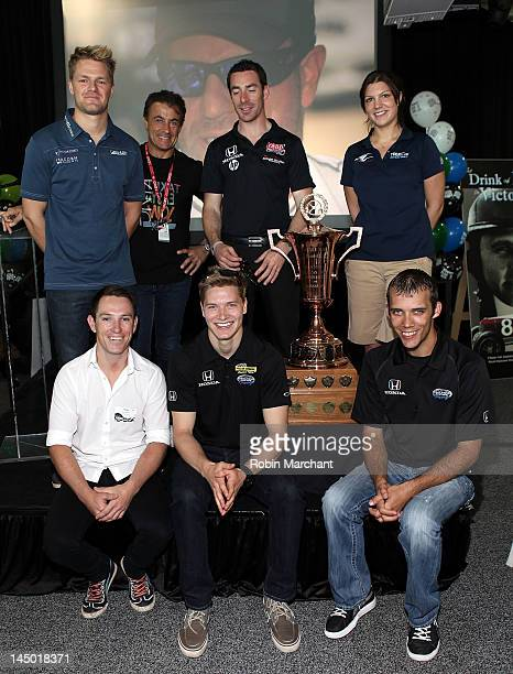 Race Car Drivers James Jakes Jean Alesi Simon Pagenaud and Katherine Legge Wade Cunningham Josef Newgarden and Bryan Clauson attends the 38th Annual...