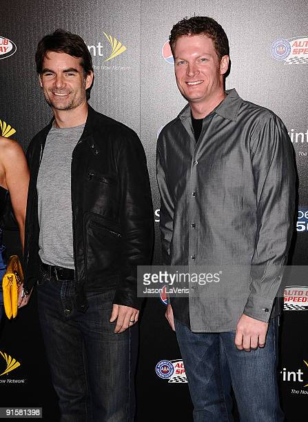 Race car drivers Jeff Gordon and Dale Earnhardt Jr attend Auto Club Speedway's Pepsi 500 at The Roosevelt Hotel on October 7 2009 in Hollywood...
