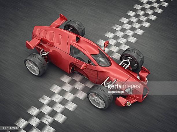 race car on finish line