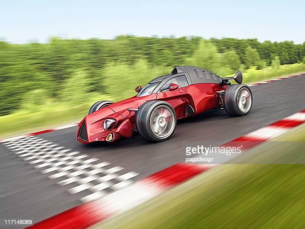 race car on finish
