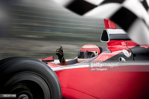 indy race car winner with thumbs up. - motorsport event stock pictures, royalty-free photos & images