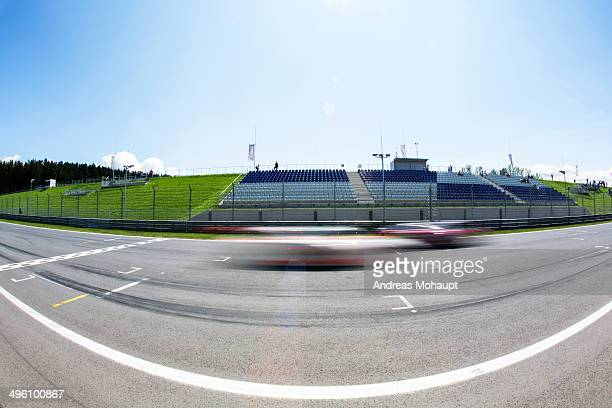 race cars crossing the finish line - spielberg styria stock pictures, royalty-free photos & images