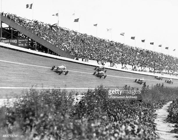 Race cars in the National Speedway Classic being held at the Culver City Speedway Culver City California March 24 1926