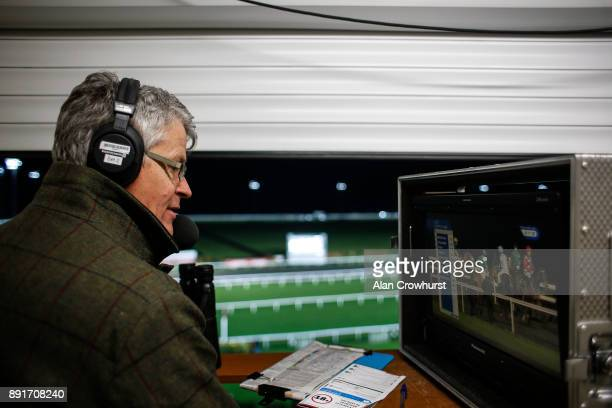Race commentator Mike Cattermole in position at Kempton racecourse on December 13 2017 in Sunbury United Kingdom