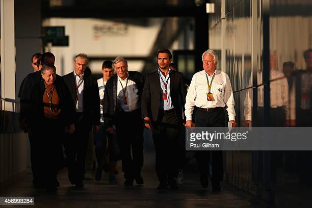 Race Director Charlie Whiting and FIA President Jean Todt arrive for a FIA press briefing regarding the Japanese Grand Prix after practice ahead of...