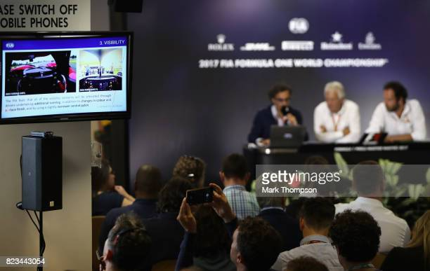 Race Director Charlie Whiting and Laurent Mekies FIA Deputy Race Director and Safety Director talk in a press conference regarding the halo device...