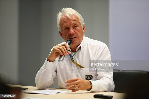 Race Director Charlie Whiting attends a FIA press briefing regarding the Japanese Grand Prix after practice ahead of the Russian Formula One Grand...
