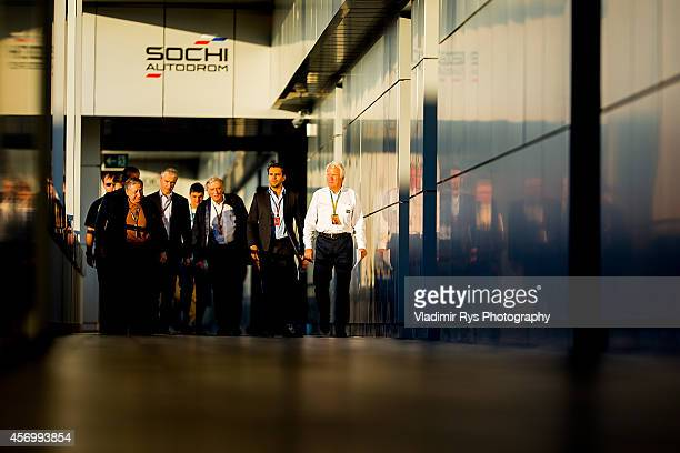 Race Director Charlie Whiting , FIA President Jean Todt and FIA Chief Medical Officer Jean-Charles Piette arrive for a FIA press briefing regarding...