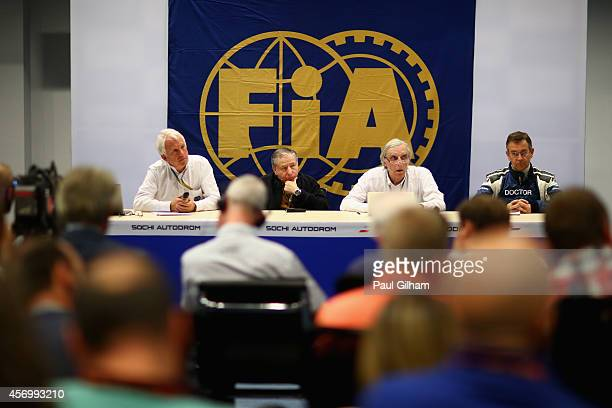 FIA Race Director Charlie Whiting FIA President Jean Todt Chief Medical Officer JeanCharles Piette and Medical Rescue Coordinator Ian Roberts attend...