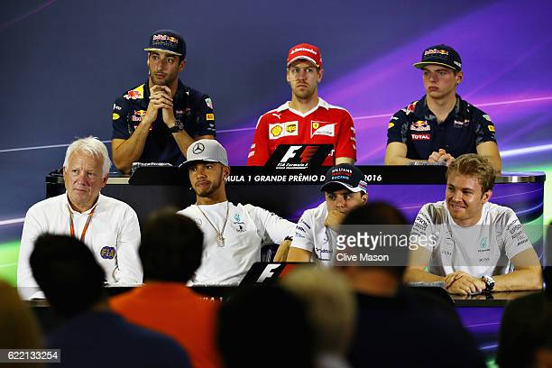 Race Director Charlie Whiting makes an appearance in the Drivers Press Conference featuring Daniel Ricciardo of Australia and Red Bull Racing...