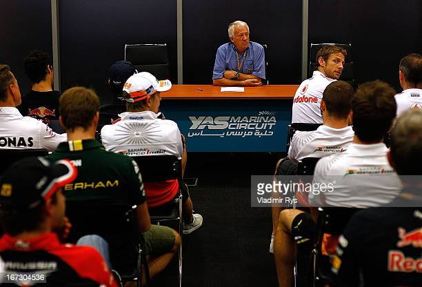 Race Director Charlie Whiting speaks to the drivers at the driver's meeting after practice for the Abu Dhabi Formula One Grand Prix at the Yas Marina...