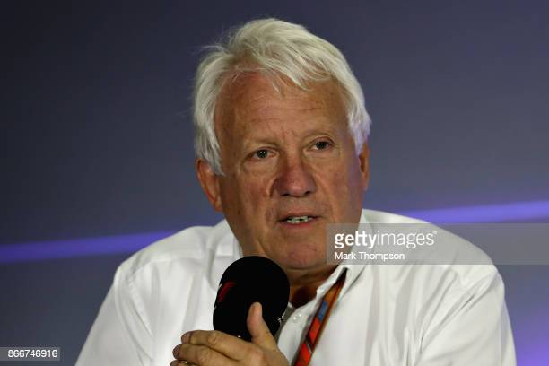 Race Director Charlie Whiting talks in a press conference about track limits during previews to the Formula One Grand Prix of Mexico at Autodromo...