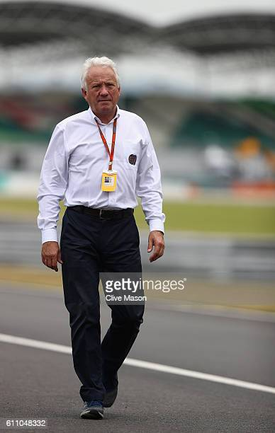 Race Director Charlie Whiting walks on track during previews for the Malaysia Formula One Grand Prix at Sepang Circuit on September 29 2016 in Kuala...