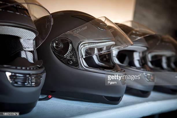 Race driver helmet on the track