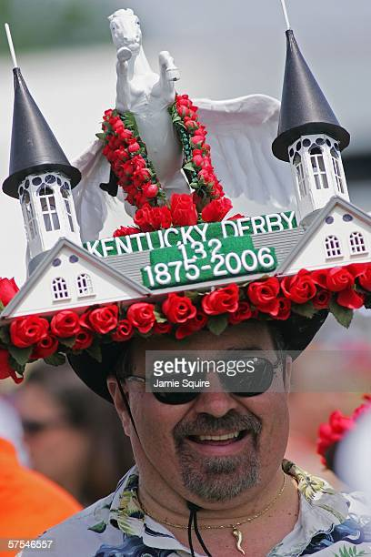 Race fan Ron Kelly stands in the infield wiht his derby hat during the 132nd Kentucky Derby on May 6, 2006 at Churchill Downs in Louisville, Kentucky.