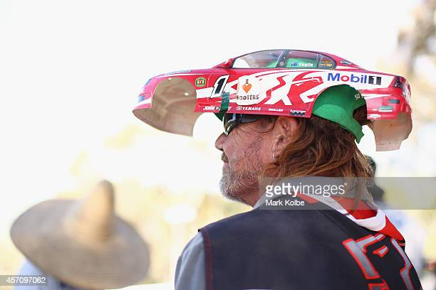 A race fan wearing a Holden remote controlled car hat watches the race during the V8 Supercars Bathurst 1000 weekend at Mount Panorama on October 12...